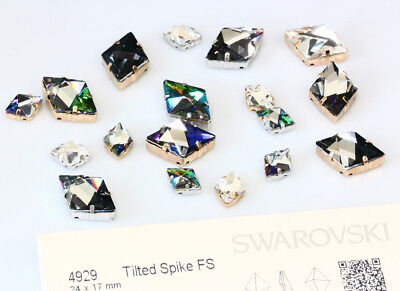 Genuine SWAROVSKI 4929 Tilted Spike Fancy Crystals with Sew On Metal Settings