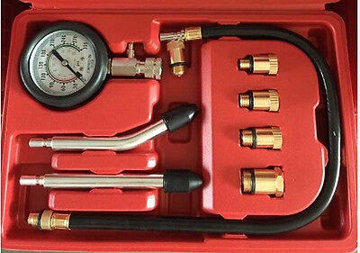 Engine Compression Gauge Tester w/ spark plug 10mm 12mm 14mm 16mm 18mm fittings