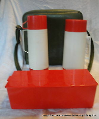 Vintage 60's 70's Aladdin Thermal Picnic Bag w 2 Thermos & Food Storage Box