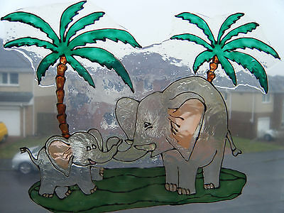 Elephants Wild Zoo Animal Window Paint Picture Decoration Cling