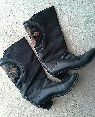 AWESOME Vintage Leather Boots 80s Black Tan Detail Calf Height Low Heels 7 7.5