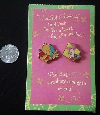 Disney Hallmark Pin Pairs Pooh and Piglet Set of 2 Pins on Thinking of You Card