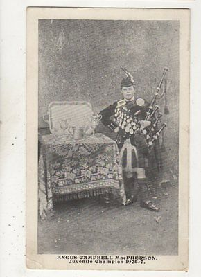 Angus Campbell MacPherson Juvenile Bagpipes Champion 1905-07 Postcard Scotland