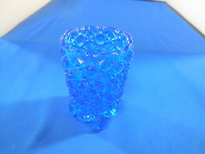 Vintage Daisy & Button Pattern Footed Blue Art Glass Toothpick Holder