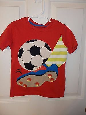 MINI BODEN Boys Orange Short Sleeve Shirt ~ Soccer ~ Size 4-5