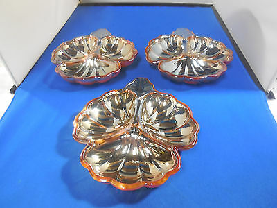 Set Of 3 Marigold Iridescent 3-Part Candy Dish Jeannette Doric  Carnival Glass