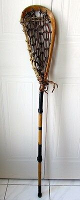 Games use Indian Mohawk Lacrosse Stick Wood frame Decor Leather Rawhide Webbing