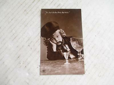 Vintage Real Photo Postcard. 'rotophot', Young Boy With Cigar + Wine Glasses.