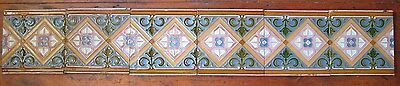Maw & Co Majolica Six Tile Run Victorian Striking Gothic Revival Design