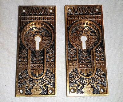 Antique Cast Bronze Pocket Door Pulls Pair Circa 1870's Beautiful!