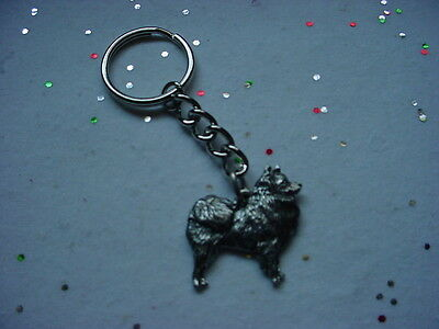 AMERICAN ESKIMO Dog Detailed PEWTER silver KEYCHAIN Key Chain Ring NEW puppy
