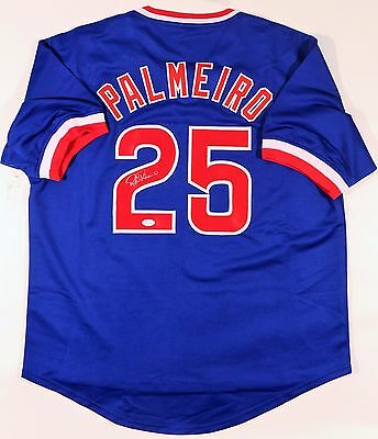 Rafael Palmeiro Signed Cubs Custom Blue Jersey Jsa Witnessed Authenticated
