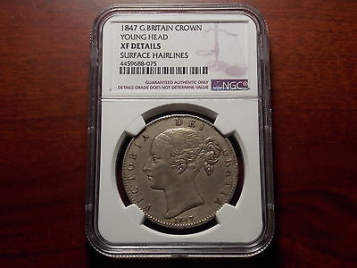1847 Great Britain Crown large silver coin NGC XF Queen Victoria Young Head