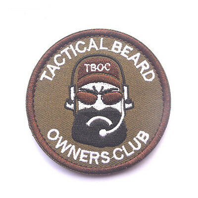 TACTICAL BEARD OWNERS CLUB MILITARY MORALE BADGES EMBROIDERED HOOK PATCH sh+ 945