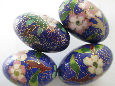 C15-Vintage 42x26mm Cloisonne Giant Eggs—Navy, Pink, Yellow, Lt Blue, Red Floral
