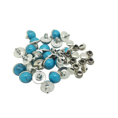 20 Sets Blue Spikes Metal Rivet Studs Spots for Clothes Leather Crafts DIY
