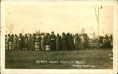 1910 RPPC Postcard Poplar Montana Indians at The Fair