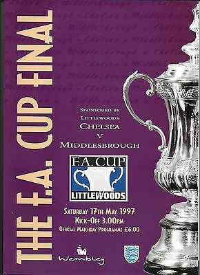1997 FA CUP FINAL PROGRAMME>CHELSEA v MIDDLESBROUGH May 1997 Wembley Stadium
