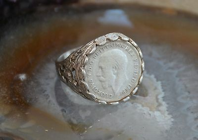 Nice Old Unisex 925 Solid Silver George V 3d Coin Ring c.1921