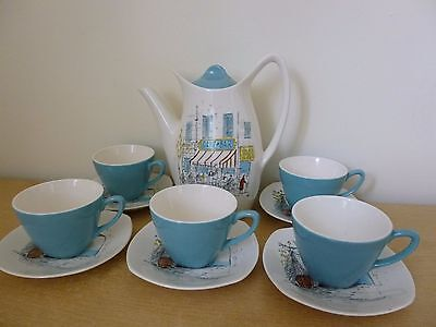 Midwinter Stylecraft Cannes Coffee Pot & Cups & Saucers - Hugh Casson - Vintage