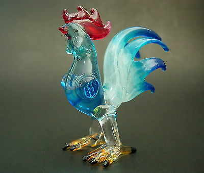 Glass COCKEREL CHICKEN ROOSTER HEN Farm Animal Painted Glass Curio Ornament Gift