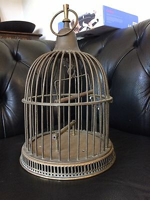Antique Vintage Brass Bird Cage With Perch & Swing