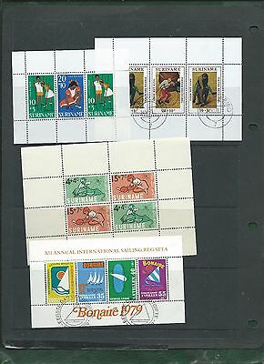 Surinam 4 different minisheets 2 x MNH 2 x CTO used
