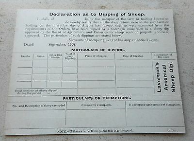 Original September 1907 - Unused Police Declaration Form As To Dipping Of Sheep