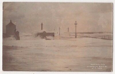 Storm at Whitby March 12 1906, Yorkshire J.T. Ross RP Postcard B748