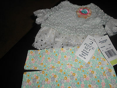 Rare Editions Baby Girls 2 Piece Mint/Floral Set~Size 3 Months~New~Adorable!~