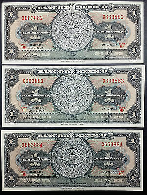 Lot of 3 Consecutive AU-UNC 1958 Mexico 1 Peso Banknotes - Free Combined S/H