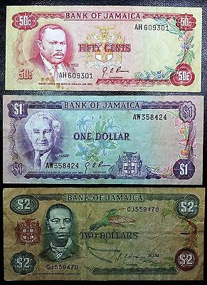 JAMAICA: 1960 1992 50 cents $1 $2 Banknotes, P-53 P-59 P-69 - FREE COMBINED S/H