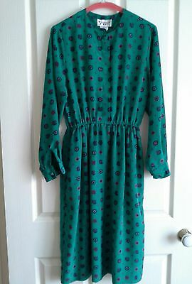 APPLESEEDS Vintage Dress GORGEOUS Teal Long Sleeves Knee Length 10 12 14
