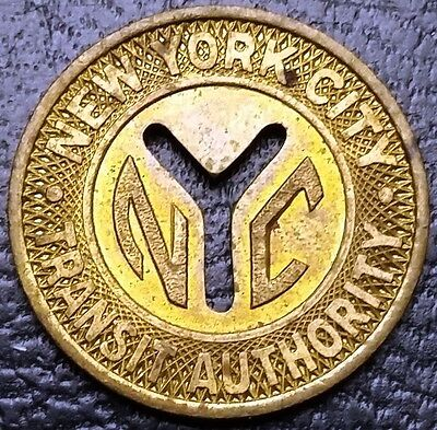 Vintage New York City NYC Transit Authority Token - Good For One Fare 1953 -1970