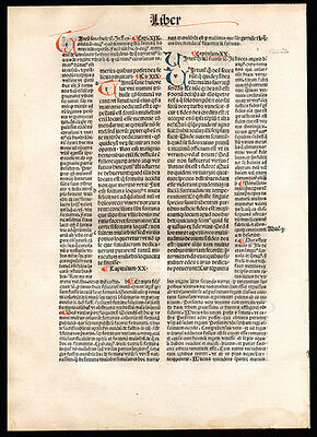 City of God 1494  Incunable Leaf St Augustine of Hippo Christian Commentary