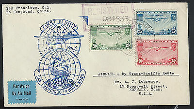 United States 1937 First flight cover to Hong Kong Asia 233/D2