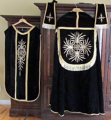 Vtg Antiques 1900's Embroidery Chasuble Cope Stole Vestment Dalmatic 3 Pieces