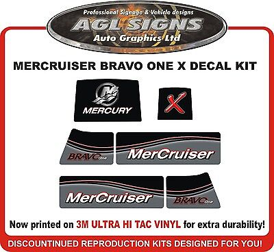 Mercury Bravo One X New Gen Outdrive Decal Kit   Mercruiser  reproductions