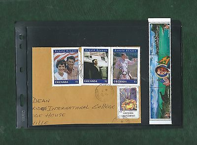 Grenada various Ronald Regan stamps postally used and unmounted mint