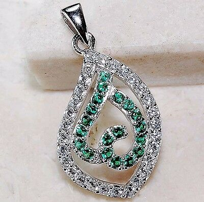 Emerald & White Topaz 925 Solid Genuine Sterling Silver Pendant Jewelry, T1-4