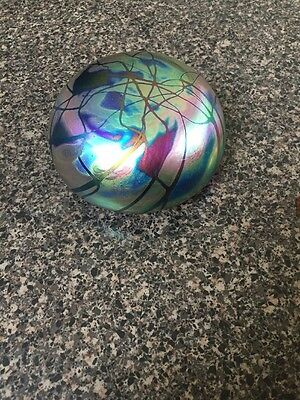 Vintage LEVAY Art Glass Hand Blown Signed Iridescent Large  Paperweight