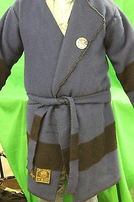 Vintage Early's Witney Point Blanket Capote Jacket/Mountain Man Robe Blue Black