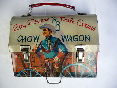 1955 Roy Rogers & Dale Evans Chow Wagon Train, Dome Lunchbox ,thermos, Very Nice