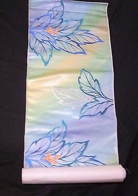 Japanese Vtg Silk Fabric for Kimono Obi Leaves & Fruits Embroidery Blue/Green