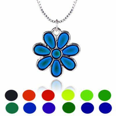 Women Ladies Flower Thermo Mood Changing Color Pendant Choker Necklace Jewelry