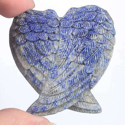 """1.93""""Natural Lapis Lazuli Angel Wings Carving,Collectibles #24B19"""
