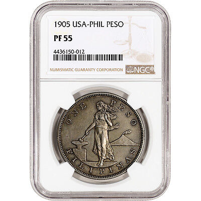 1905 USA Philippine Silver Peso Proof - NGC PF55 - Only 471 Minted