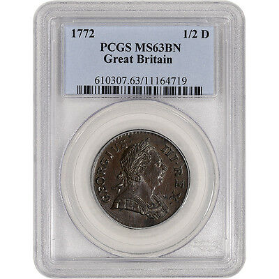1772 Great Britain Half Penny 1/2 D - PCGS MS63 BN