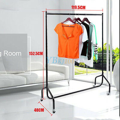 4FT Multi-purpose Clothes Rail Garment Coat Dress Hanging Display Stand On Wheel