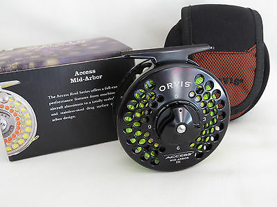 Orvis Access  Mid Arbor III  fly reel mint ,  pouch, box and lined